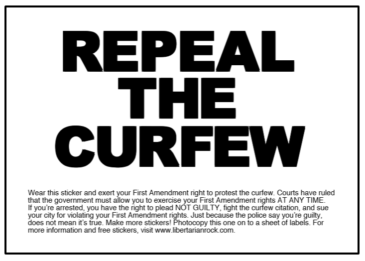 Image of Repeal the Curfew sticker