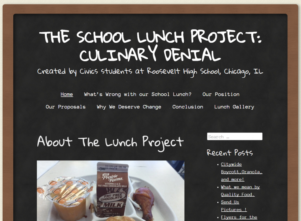 Web screen shot of school lunch project home page